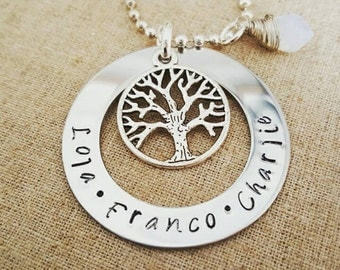Custom Hand Stamped Tree of Life Necklace for Mom or Grandmom