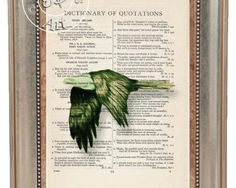 Flying Golden Green Eagle Swirly Lines Painting Art Beautifully Upcycled Vintage Dictionary Page Book Art Print,Note Cards Art Print