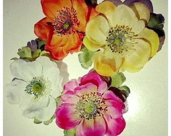 Hair flowers - anemones in 4 different colors!
