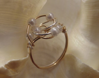 Pearl Cluster Ring with Gold and Silver Wire Wrap