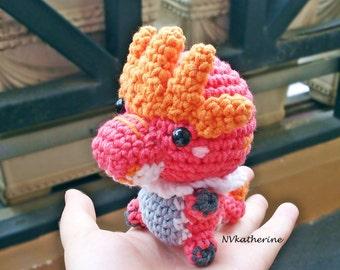 FREE SHIPPING Chibi Tyrantrum Made-to-order Crochet Amigurumi, Pokemon plush toy