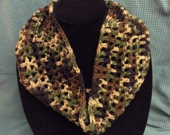 Camp neckwarmer, cowl, scarf, hand crochet, gift idea, Stocking stuffer,