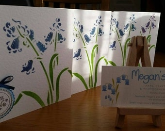Beautifully unique and handmade bluebell card made using inks