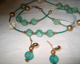 Vintage Costume Jewelry Necklace & Clipback Earrings, WAS 25.00 - 50% = 12.50