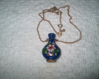 Vintage Costume Jewelry Cloisonne Vase Necklace, Avon,  Brass, WAS 25.00 - 50% = 12.50