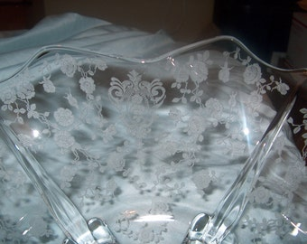 Antique Vintage Etched Glass Footed Bowl, Fostoria, WAS 50.00 - 50% = 25.00