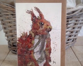 Winter Animal Card- Squirrel