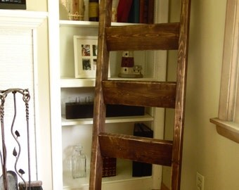 """Rustic shabby chic chunky wooden blanket ladder, towel ladder pine wood with custom paint/stain colors 5' x 20"""""""