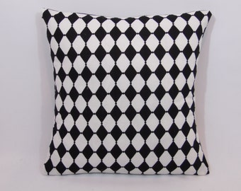 Custom made black and white harlequin design pillow cover/sham. Multiple sizes to choose from.
