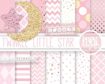 Twinkle Little Star Birthday patterns, Pale Pink, girly Baby Shower, Digital Paper, Glitter Moon, star clipart, first birthday, baby girl,