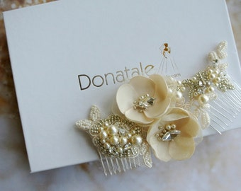 Bridal hair accessories -Floral hair piece- Floral hair comb - Bridal Hair Comb- Bridal Headpiece -Wedding headpiece-  AMBER