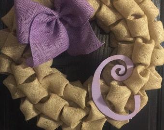 Purple Personalized C Initial Burlap Wreath