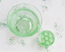 Green Glass Bowl and Flower Frog - antique Pressed Uranium Glass - Made in England