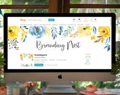 Cover Photo, Blog Header, Yellow Bloom, Etsy Banner, Premade Shop Banner, Add your own font, 2 piece Etsy Shop Set, Branding Set