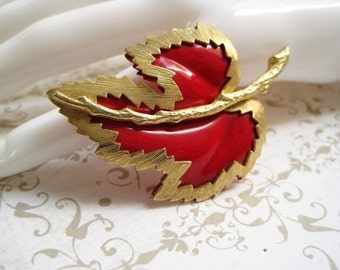 Red & Gold Vintage Leaf Brooch / Layered Enamel Pin