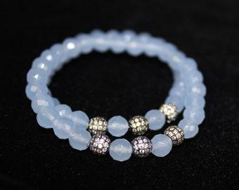 Blue Quartz bracelet with black pave bead 6 mm