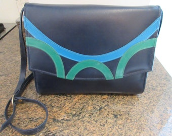 Vintage 'Clarks' Navy, Turquoise & Green Leather 1980's Handbag MADE IN IRELAND - Lovely!!