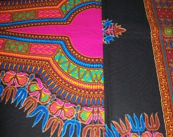 Black and Pink dashiki fabric per panel 2 yards each/ Dashiki/ Black Angelina/ Dashiki clothing/Kitenge/ White Java print/ African dashiki