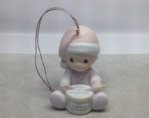 Vintage Precious Moments Baby's First Christmas Ornament 1991 Drummer Boy Enesco Samuel Butcher Christmas Tree Santa Hat Bisque Porcelain