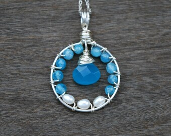 "Blue Agate + Pearl ""Blossom"" Wire Wrapped Pendant (Free shipping in Canada!)"