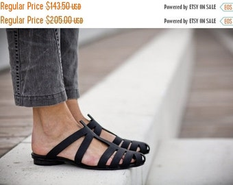 Sale 30% Strappy Sandals, Black Sandals, Handmade Leather Sandals, Black Summer Shoes, Slide Sandals, Black Mules, T-strap Sandals, Alicia