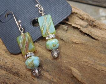 Czech glass and crystal earrings