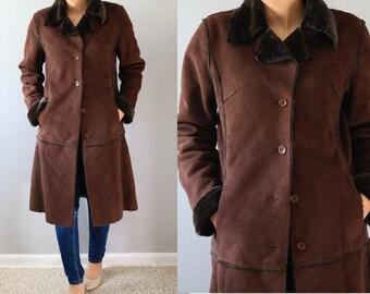 SALE!!SALE!!Vintage Shearling Coat/ Brown Shearling Coat/ Black Fur Coat/ Women Shearling Coat/ Brown Shearling Coat