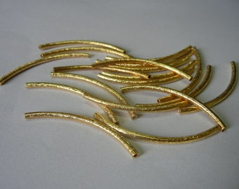 Sterling Silver 2x40 mm Gold Plated Curved Tube - Per Piece