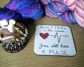 Rockamolly coaster: knitting is the reason you still have a pulse