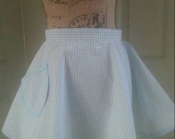 Light blue Gingham  Handmade half Apron• photo prop• rockabilly apron