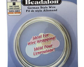 Beadalon German Style Wire 21ga Fancy Square Silver Plated 2.5 Meter Coil (WR5821s)