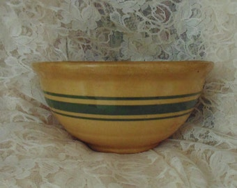 Rare 19c Antique Yellow Ware Bowl 3 Green Stripes Bands 7.5""