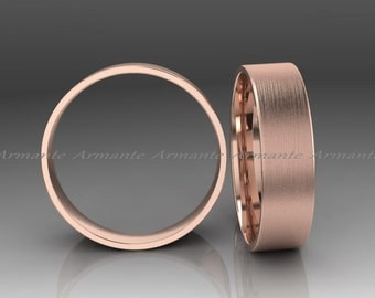 14k Rose Gold Wedding Band, Solid Gold Wedding Ring, Hand Made Wedding Band, 6.00mm Wide