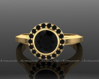 Black Diamond Vintage Ring, Yellow Gold Vintage Style Natural Black And White Diamond Engagement Ring 14k Yellow Gold Re000ybk
