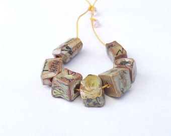 Greenish Cubes Text and Letter Facets   -  7 cut clay gems - indie jewelry supply by Kathrin Kneidl