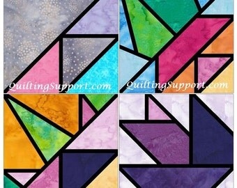 Quarter Stained Glass Stars Set 4 Paper Foundation Piecing Quilting 4 Block Patterns PDF
