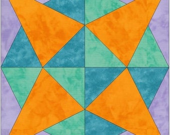 Split Geometric Star Priscilla Paper Template Quilting Block Pattern PDF