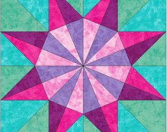 Spiderweb Star 2 Paper Piece Foundation Quilting Block Pattern