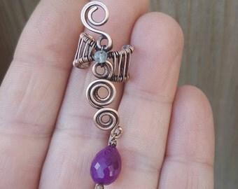 Woven ear cuff, wire ear cuff earrings, wire wrapped jewelry, copper ear cuff, link ear cuff, cartilage cuff, chalcedony drop earring cuff