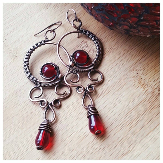 Red Givenchy Chandelier Earrings: Deep Red Chandelier Earrings Wire Wrapped Crystal Earrings Red