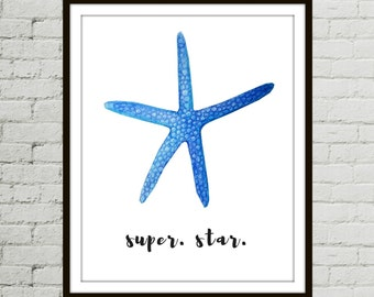 Nautical Prints, Starfish Decor, Art Print Nautical, Starfish Wall Art, Starfish Decor, Nautical Print, Beach Print, Nature Print, Starfish