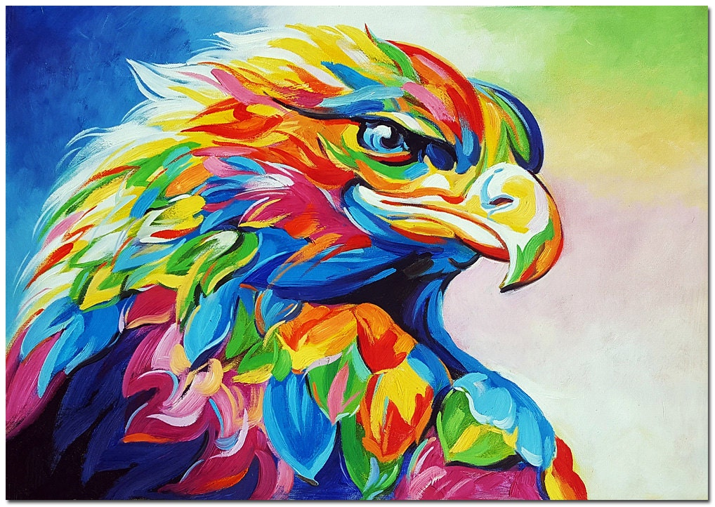 Hand painted impressionist eagle painting on canvas modern for Muestras de colores de pintura