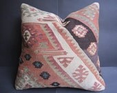 16 x 16 inch kilim pillow,handwoven pillow cover,turkish pillow,vintage pillow,authentic pillow cover,
