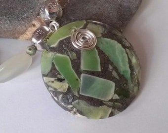 Sea Sediment Jasper Pendant Necklace Earring Set with Jade Stones, Antique Silver Beads and Antique Silver Toggle Clasp