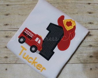 Personalized Fire Truck Fire Hat Fire Fighter First Birthday Shirt