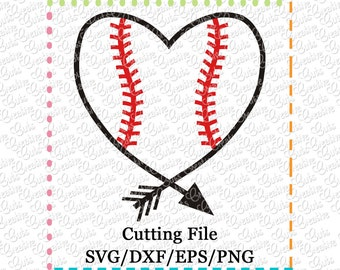 EXCLUSIVE SVG eps  DXF Cutting File Heart Arrow Baseball svg, baseball heart svg, baseball svg, tribal svg, arrow svg