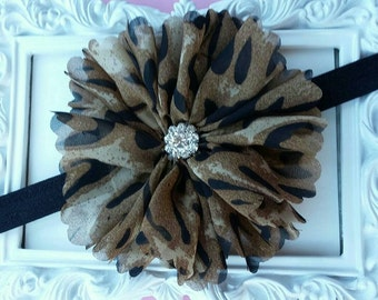 Leopard Flower headband, Brown Black headband for baby girl, flower bow headband