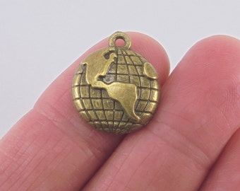 8 pc. Earth or Globe charm, 20x16mm, antique bronze finish