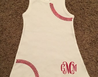 Infant and Toddler Girls' Baseball Dress with monogram included
