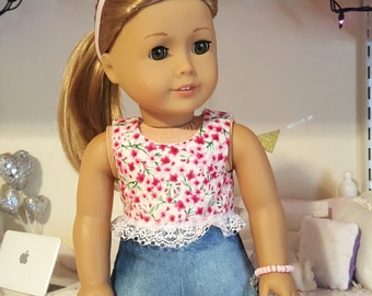 18 inch doll pink floral crop top
